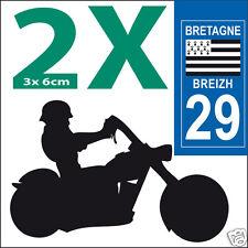 2 stickers autocollants style plaque immatriculation moto Département 29