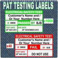1040 PERSONALISED SERIALSED PAT Testing Labels 1000 PASS AND 40 FAIL