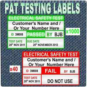 1039 PERSONALISED SERIALSED PAT Testing Labels 1000 PASS AND 40 FAIL