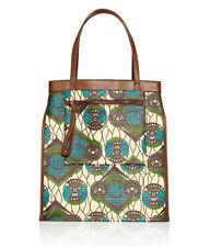 Auth Marni at H & M grün braun Leater Klappe Top Handtasche Tasche Shopper HM Maison NEU