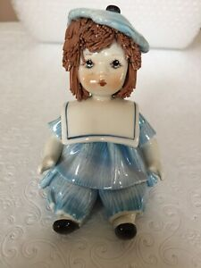 Zampiva Porcelain Figurine Little Girl Spaghetti Hair Made In Italy