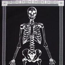 Glow in the Dark Skeleton Panel Timeless Treasures - 24 x 44 black white fabric