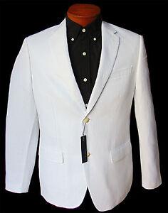 Men's PERRY ELLIS White Linen Cotton Jacket Blazer 38 REG 38R NWT NEW Amazing!