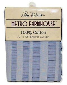 "NEW Park B Smith Shower Curtain Blue Seersucker Farmhouse 100% Cotton 72"" X 72"""