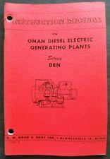 Onan Diesel Electric Generating Plants Drn Series Operating Instruction Manual