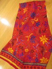 VINTAGE 1980's LIZ CLAIBORNE  100% SILK SCARF RED, PURPLE, YELLOW & BLUE FLOWERS