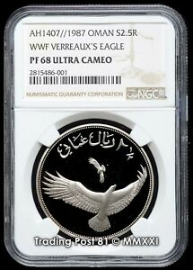 OMAN 1987 - WWF Series Verreaux's Eagle - 2½ Rials Silver Coin - NGC Proof 68 UC