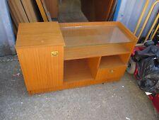Retro Oak TV Hi Fi Cabinet Glass Shelf Drawer Cupboard Record Storage Deliver ?