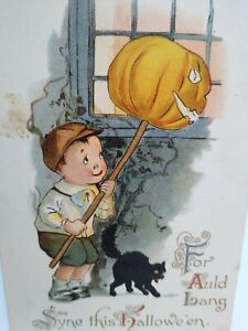 Vintage Halloween Postcard Gottschalk Dreyfuss & Davis German Text Boy Black Cat