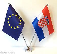 European Union EU & Croatia Flags Chrome and Satin Table Desk Flag Set