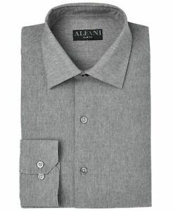 Alfani Mens Dress Shirt Gray Size Small S 14-14 1/2 32/33 Slim Button Down $50
