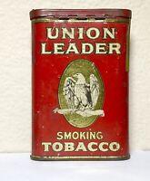 UNION LEADER Pocket Smoking Tobacco Tin USA Advertising Eagle Vintage