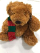"Russ 15"" CHUBBS Large Teddy Bear in Red & Green Knit Scarf Vintage"
