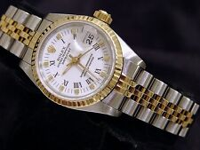 Rolex Datejust Ladies 2Tone 18K Gold & Stainless Steel Watch White Roman 69173