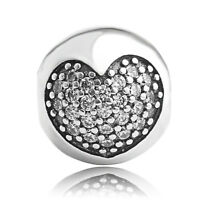 Sterling Silver 925 Clear CZ Love Heart Clips Charm Bead fit European bracelet