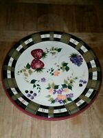 VINTAGE ONEIDA STRAWBERRY PLAID FINE CHINA MEDIUM HOT PLATE DISH