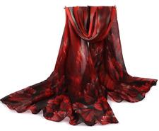 MENGLINXI Damen Schal Farbverlauf Rot Bordeaux Schwarz mit Seide 180cm x 90cm