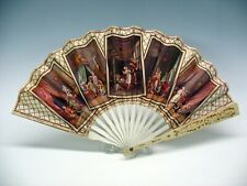 Antique French Hotel advertising paper fan with erotic images Monte Carlo Paris