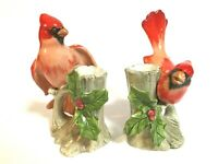 Fitz & Floyd Male Cardinal Hand painted set of 2 Candle stick holder Christmas