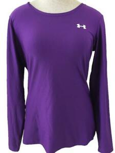 Under Armour top size L large long sleeve purple active wear