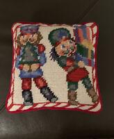 Vintage Needlepoint Nutcracker Christmas Decorative Pillow Velvet Backing