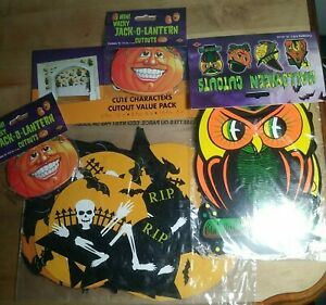 LOT 30 total Vintage Halloween Cardboard/Paper Cut Out Decorations 4 packs New