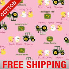 "Cotton Fabric John Deere Duck Tractor Farm 54810-2 Pink 45"" Wide Free Shipping"