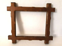 "Vtg Adirondack Tramp Art Wood Picture Frame Folk Art Carved  9.5 x 8.5"" Wall"