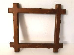 "Vtg Adirondack Tramp Art Wood Picture Frame Folk Art Carved  9.5 x 8.5"" Wall"