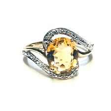 ★ Brillant Ring mit Citrin ★ 333 8 kt Gold Ring mit ★ 0,05 ct Diamanten Gelbgold