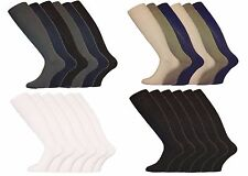 12 Pairs Mens Gents Long Hose 100% Cotton Ribbed Comfy Grip Knee High Socks 6/11