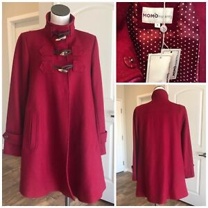 NWT MOMO Maternity Kennedy Wool Blend Toggle Button Coat Jacket Sz S Wine Dressy