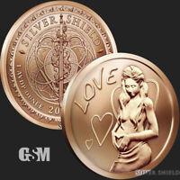 1 oz Love .999 Copper 2020 Silver Shield Valentines Day Hearts Friends Marriage*