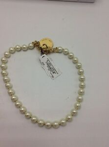 $42 Anne Klein Gold Tone Imitation Pearl Polished Disk  Necklace #814