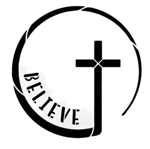 Believe Cross Symbol Durable & Reusable Plastic Stencils 6X6
