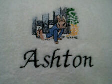 personalized boy / girl  pink or blue peter rabbit cot blankets