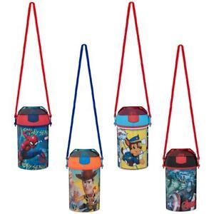Paw Patrol Marvel Woody Pop Up Bottle Water Drink Juice Kids Sports School Straw