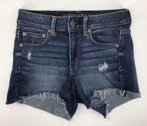 American Eagle Hi Rise Shortie Jean Shorts Size 4 Blue Distressed Stretch Denim