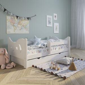 Kinderbett Voll-Holz 160x80 cm mit Rausfallschutz & Schublade in weiß Kiefer