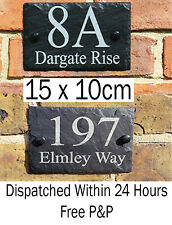 Rustic Slate House Door Gate Number Sign Plaque Any number or message black