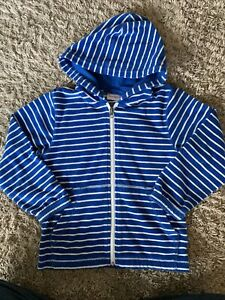 HANNA ANDERSSON Boy Striped Terry Cloth Zip-up Hoodie Blue + White 120cm-us 6-7