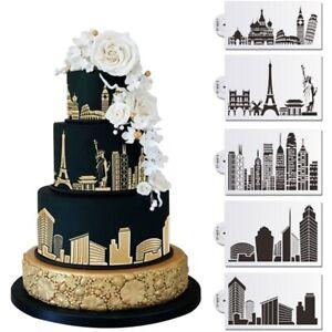 Plastic Cake Stencil Cake Decorating Tool Landmark Building Fondant Molds