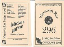 2003 Nayawin Rar Lodge Game Card SR-7B Section Conclave North Carolina Boy Scout