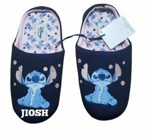 Disney Stitch Navy Ladies Slippers Footwear New