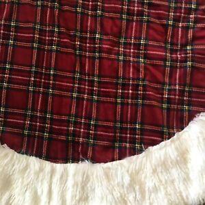 """Berkshire Home Christmas Tree Skirt Red Plaid White Faux Shaggy Fur Trim 54"""""""
