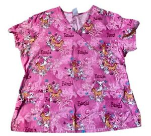 Disney Bambi and Friends Nurse Uniform Scrub Top Womens XL