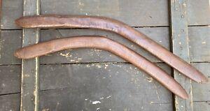 Two 19thC Aboriginal Boomerangs South East Australian Stone Tooled & nice patina
