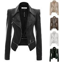 Fashion Women PU Faux Leather lapel zipper short Coat Jacket outwear Slim Biker