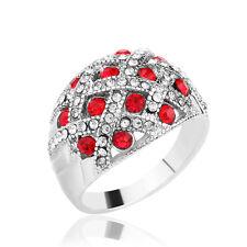 Big Oval Red Austrian Crystal Vintage Wedding Engagement Fashion Women Ring