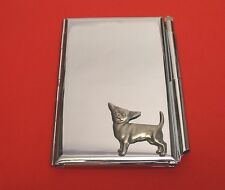 Chihuahua Dog Motif on Chrome Notebook / Card Holder & Pen Christmas Gift
